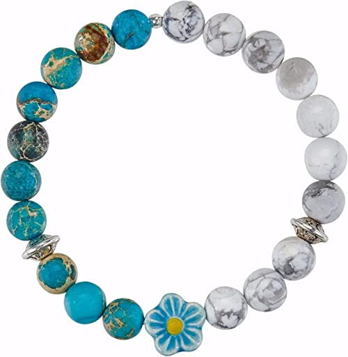 Amazonite 8mm Stretch Bracelet Sterling Silver Boho Bracelet