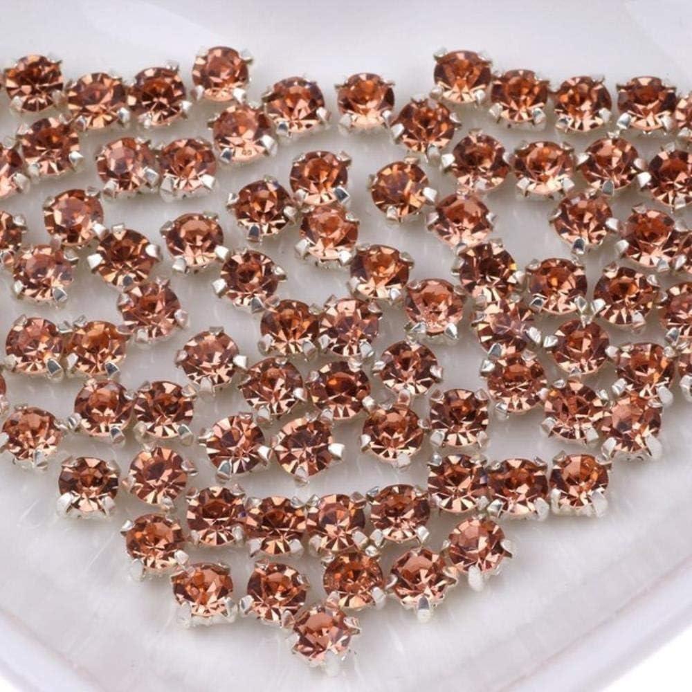 PENVEAT SS16 Mix Color Glass Coser en Piedras de Diamantes de imitación para la Ropa Vestido de decoración Piedras de Diamantes de imitación en la Ropa Accesorios de Espalda Plana, Color Champagne