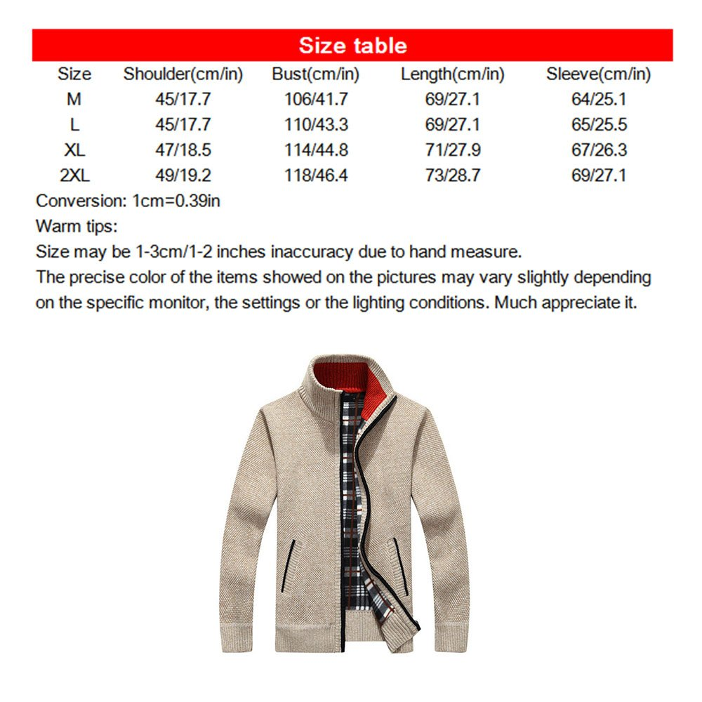 tueselesoleil Winter Men's Cardigan Sweater Solid Color Thick Plus Size Coat (Beige) by tueselesoleil (Image #3)