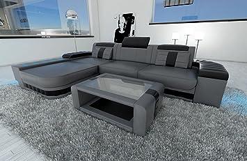 Sofa Dreams Ledersofa Bellagio L Form Grau Schwarz Amazon