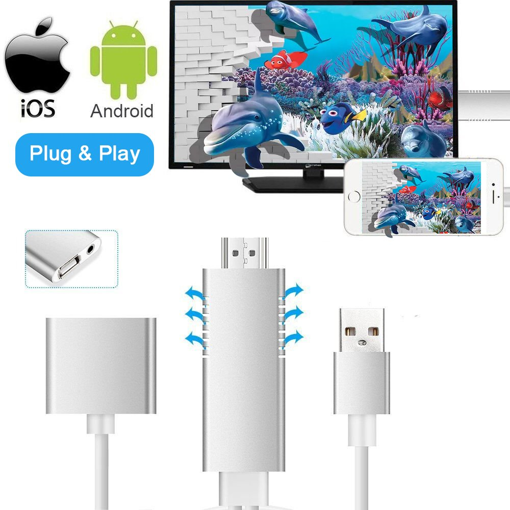MHL to HDMI Video Cable Adapter, Weton HD 1080P Video Digital AV Cable AirPlay HDTV Adapter MHL USB Cable Compatible for All Smart Phones to TV/Projector/Monitor