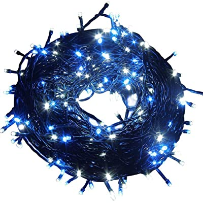 Fullbell 33ft Christmas LED Fairy Twinkle String Lights 100 LEDs with Controller for Chirstmas Tree, Garden, Patio, Multi Strings Connectable(Black Wire)(Blue)