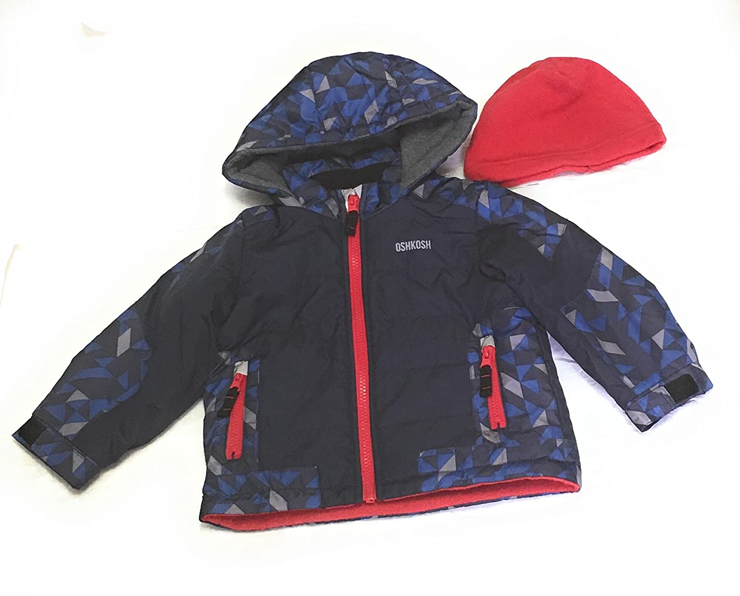 OshKosh BGosh Boys Jacket with Extra Fleece Hat Size 2T Navy//Red