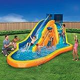 Inflatable Water Slide - Huge Kids Pool (14 Feet Long by 8 Feet High) with Built in Sprinkler Wave and Basketball Hoop…