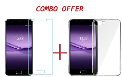 best loved 072ee d68e1 Clorox Infocus Turbo 5 Plus Back Cover Hybrid Soft + Tempered Glass (Combo  Pack)