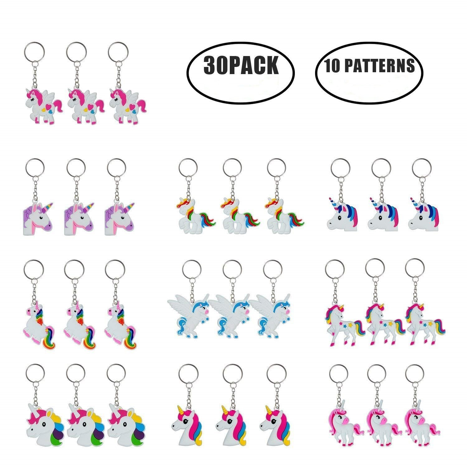 M-Aimee 30 Pack Rainbow Unicorn Keychain for Birthday Party Favor Supplies Decoration Gifts for Kids Unicorn-30
