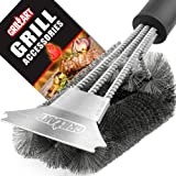 "Grill Brush and Scraper - Extra Strong BBQ Cleaner Accessories - Safe Wire Bristles 18""Stainless Steel Barbecue Triple Scrubber Cleaning Brush for Weber Gas/Charcoal Grilling Grates, Best wizard tool"