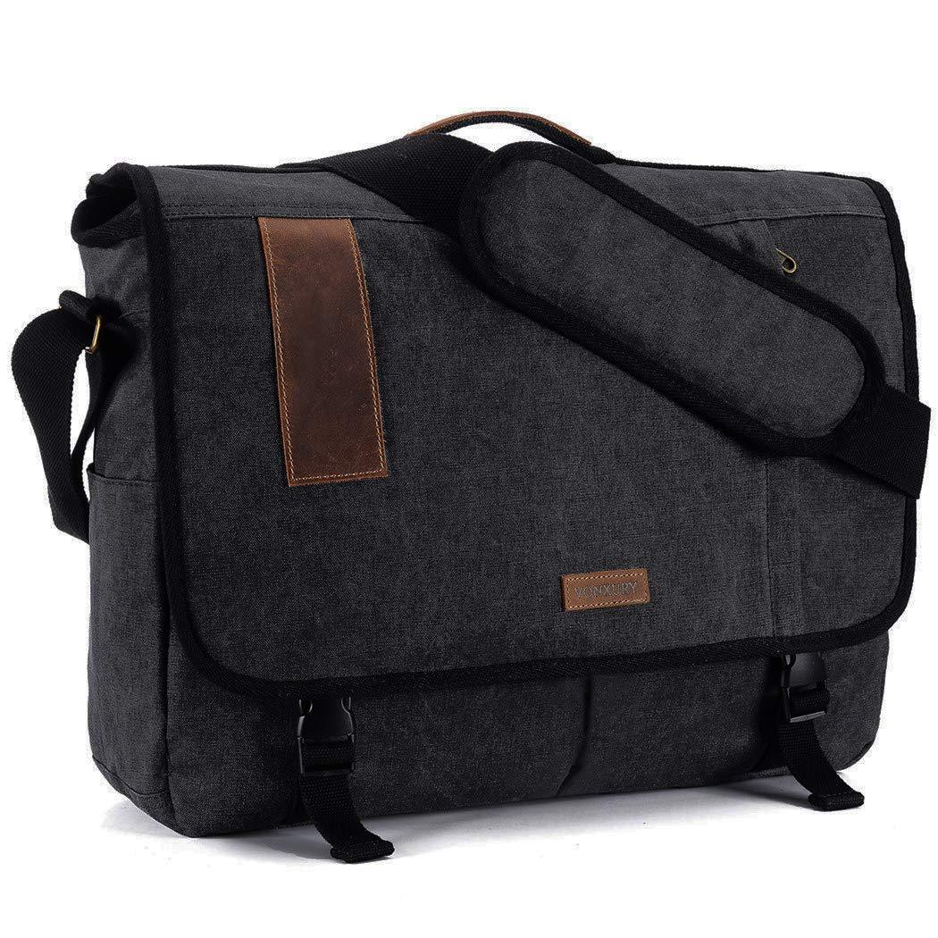 Mens Laptop Messenger Bag 15.6 Inch Water Resistant Canvas Shoulder Briefcase Satchel Bag VONXURY
