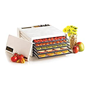 Excalibur 3526TW 5-Tray Electric Food Dehydrator with Temperature Settings and 26-hour Timer Automatic Shut Off for Faster and Efficient Drying Includes Guide to Dehydration Made in USA, 5-Tray, White