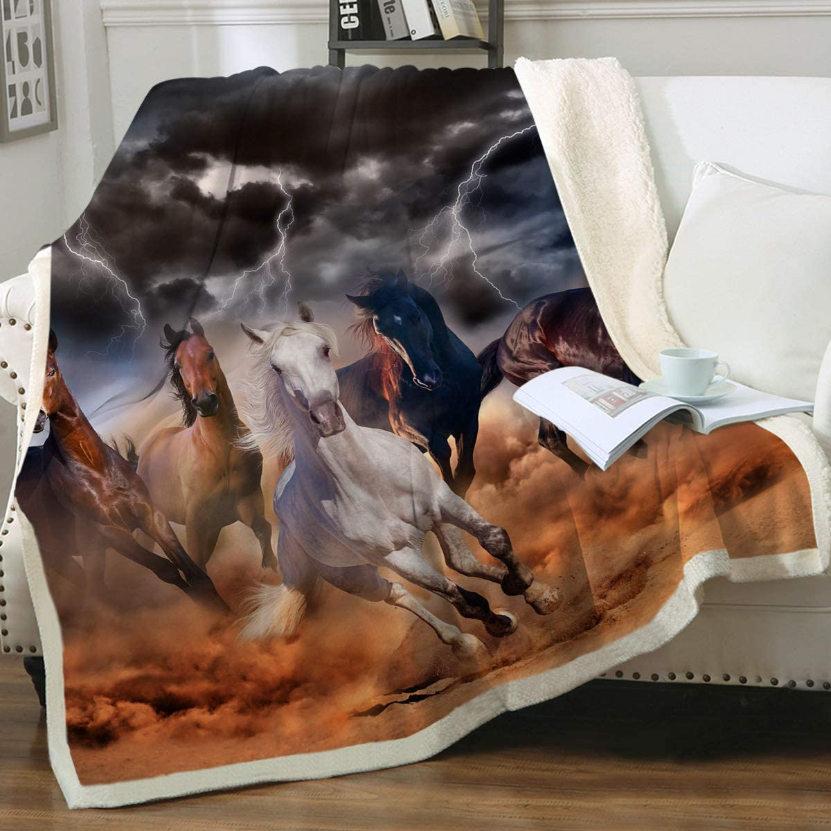 Amazon Com Sleepwish Galloping Horse Blanket For Girls Cowboy Western Fleece Blanket Plush Sherpa Throw Blanket For Couch Sofa Coworker Throw 50 X 60 Home Kitchen