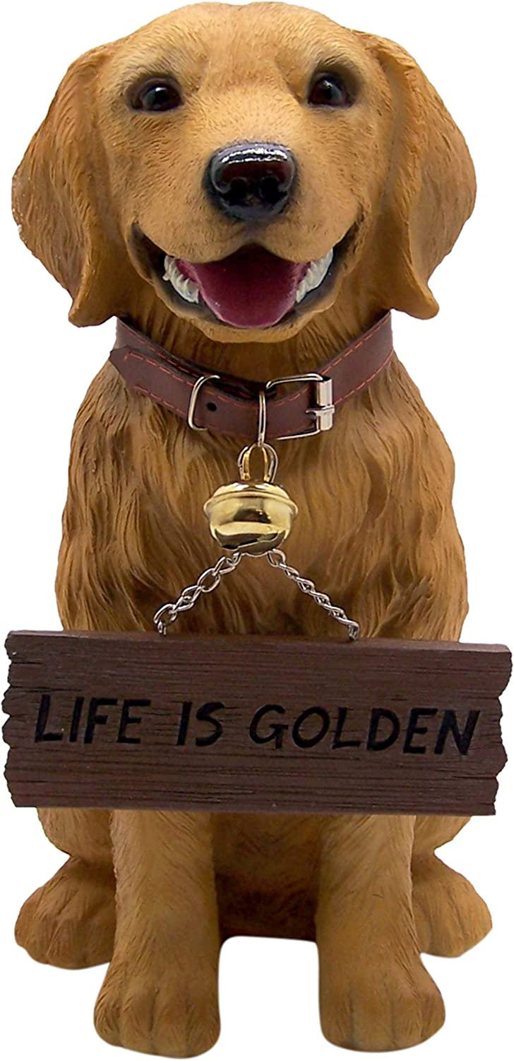 Golden Retriever Statue with Welcome Sign, Wipe Your Paws, Life is Golden, for Porch, Garden, Entryway, 13 Inch