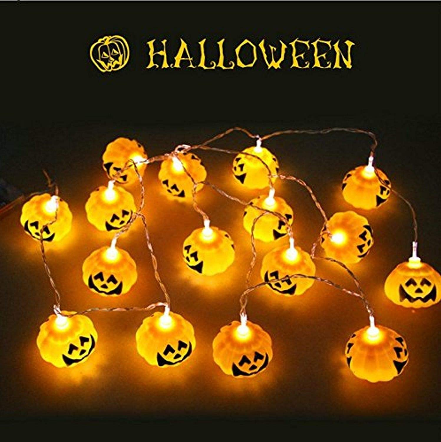 10 LED Hanging Halloween Decor Pumpkins Ghost Spider Skull LED String Lights Lanterns Lamp for DIY Home Outdoor Party Supplies by Thirsty Jini