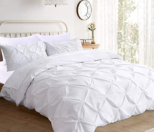 KING WHITE SOLID 3 PIECES DUVET COVER SET 1000 THREAD COUNT 100/% EGYPTIAN COTTON