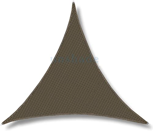 TANG Sunshades Depot 20'x20'x20' Reinforcement Large Sun Shade Sail Brown Equilateral Triangle Heavy Duty Metal Spring Outdoor Permeable UV Block Fabric Durable Steel Wire Strengthen 160 GSM