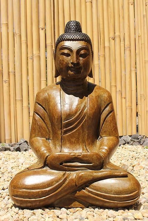 Asien Lifestyle Jardín Estatua de Buda (80cm) Piedra Natural Handmade en Madera Aspecto Gefinisht - Completo Restaurada: Amazon.es: Jardín