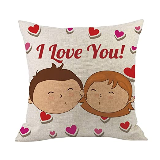 LEEDY - Funda de almohada cuadrada con estampado de amor ...