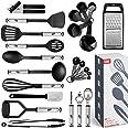 Juego de utensilios de cocina de 24 utensilios de nailon y acero inoxidable, antiadherentes y resistentes al calor, utensilio