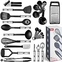 Juego de utensilios de cocina de 24 utensilios de nailon y acero inoxidable, antiadherentes y resistentes al calor…