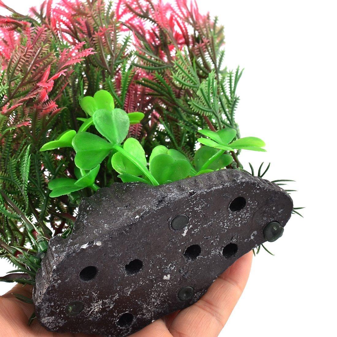 Amazon.com : eDealMax acuario plástico del tanque de pescados de la decoración del ornamento Artificial de la planta de agua falso Hierba Azul Rojo : Pet ...