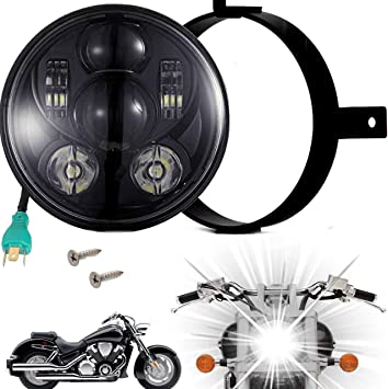 VTX 1300 Plug and Play Fit for Honda 2002-2008 VTX 1800 Black Akmties 5.75 inch Round LED Motorcycle Headlight Kit with Bracket and Hardware