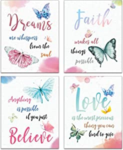 """Modern Art Watercolor Butterfly Inspirational Quotes Posters Painting Kids Girls Kindergarten Classroom Bathroom Spa Decor Art Prints Set of 4 (""""8x10""""Canvas Picture) Home Decor Unframed"""