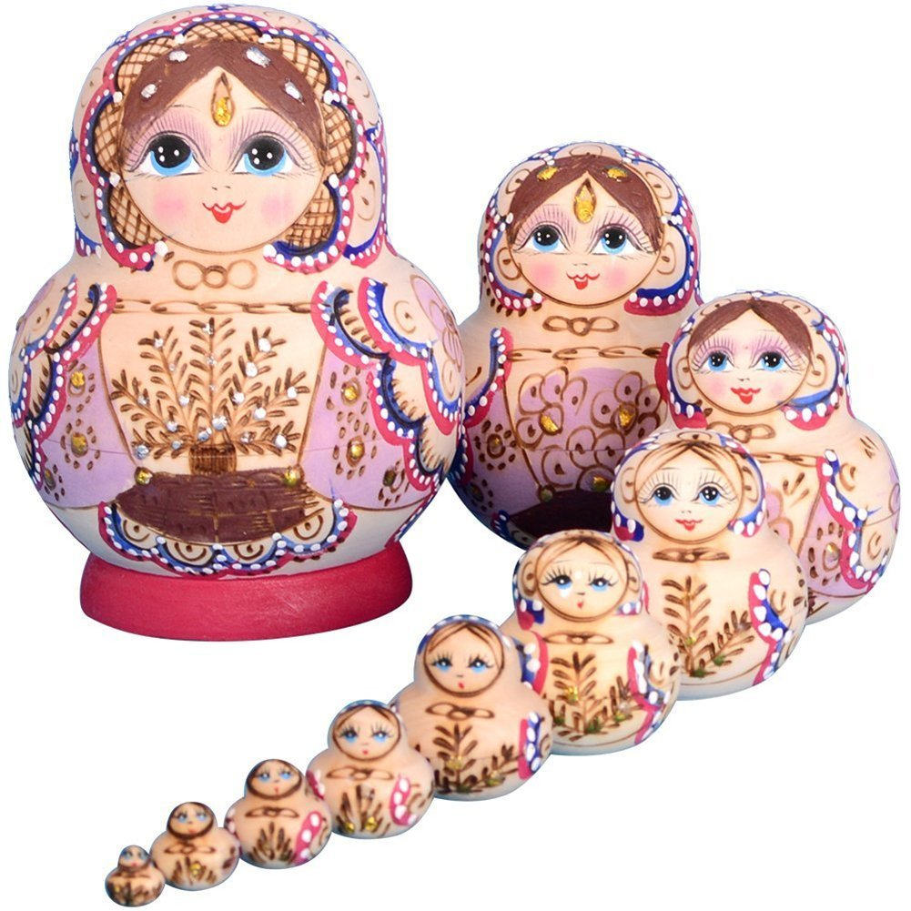 Lakerom 10pcs For Kids Girl Home Decoration Russian Nesting Dolls LRKDTW1007-Khaki