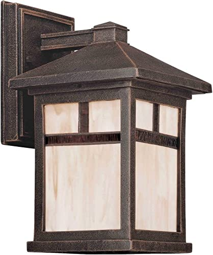 Forte Lighting 1773-01 Craftsman Mission Outdoor Wall Sconce, Painted Rust