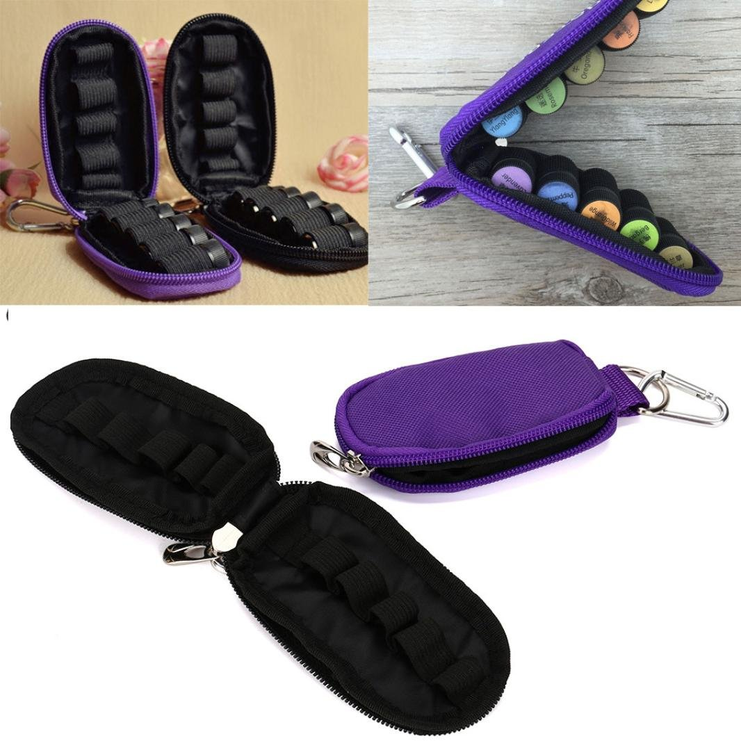 HP95 10 Bottle Essential Oil Case Carrying Holder Storage Bag for Travel (Purple)
