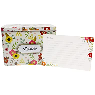 Light Metal Recipe Box Set With 100 Recipe Cards & 10 Blank Dividers | Holds Up To 200, 4x6 Cards | From Splendid Chef