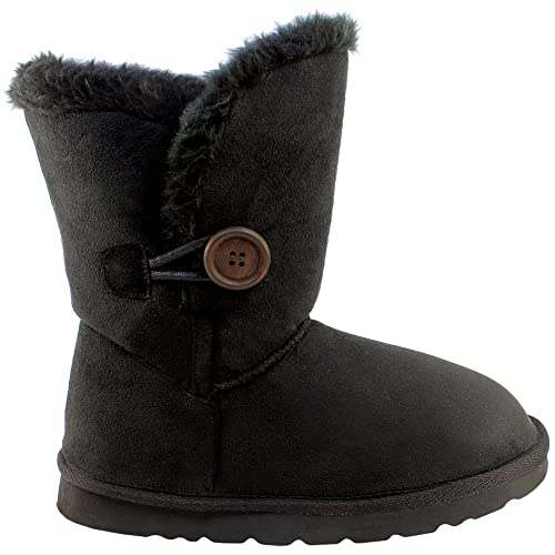 Womens Single Button Short Classic Fur Lined Winter Rain Snow Boots