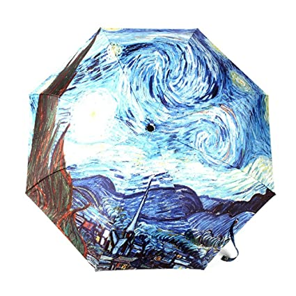 Amazon Com Automatic Umbrella Glodeals Oil Painting 3 Folding