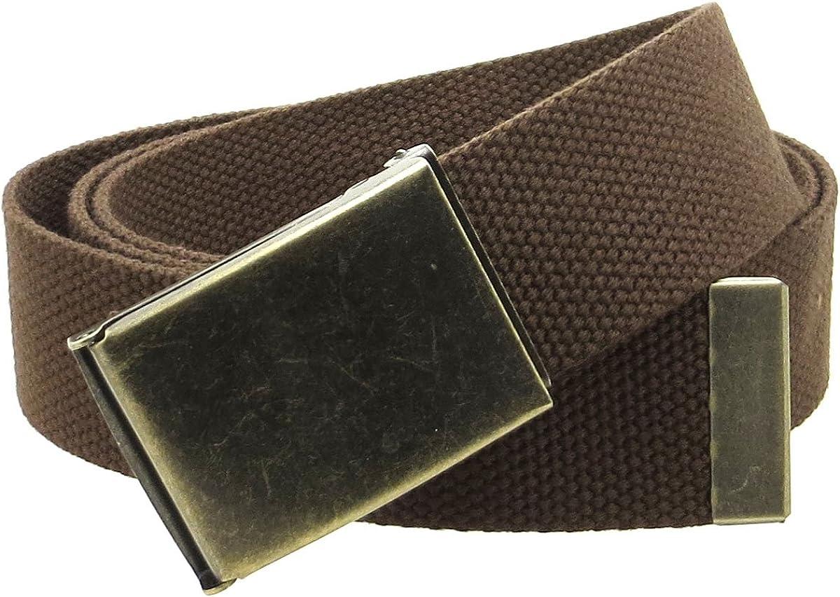 Canvas Web Belt Flip-Top Antique Brass Buckle//Tip Solid Color 50 Long 1.5 Wide