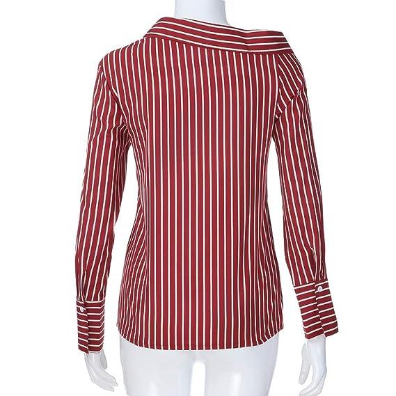 Luckycat Las Mujeres de Moda a Rayas Top Casual Camiseta Suelta de Manga Larga Blusa Superior: Amazon.es: Ropa y accesorios