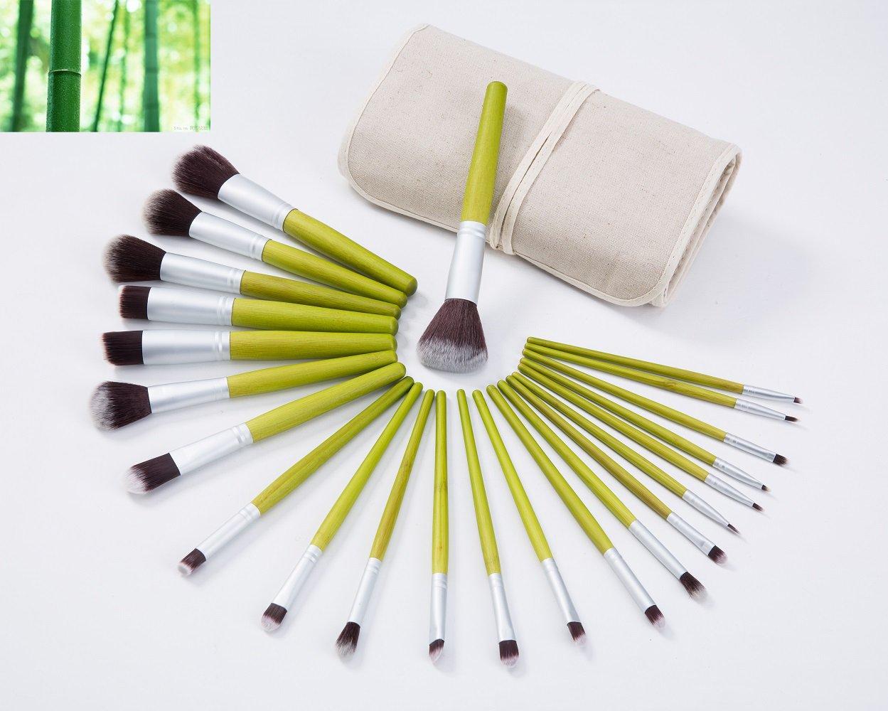 LaiFeiYa - Professional 23Pcs Bamboo Handle Kabuki Makeup Brushes Cosmetics Set Kit for Beauty Liquid Foundation Cream Concealer Contour Blending Powder Eyeshadow Eyebrow Brush