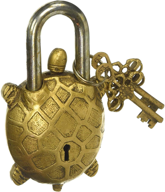 "Functional Brass Beautiful Padlocks with Two Keys Garden Lock Functional Brass Turtle Padlock 5.5"" with Two Keys"
