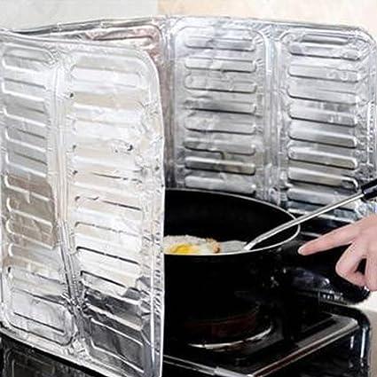 Protector de salpicaduras de aceite de aluminio para estufa de gas, herramienta de cocina a prueba de quemaduras. Tamaño libre plata: Amazon.es: Hogar
