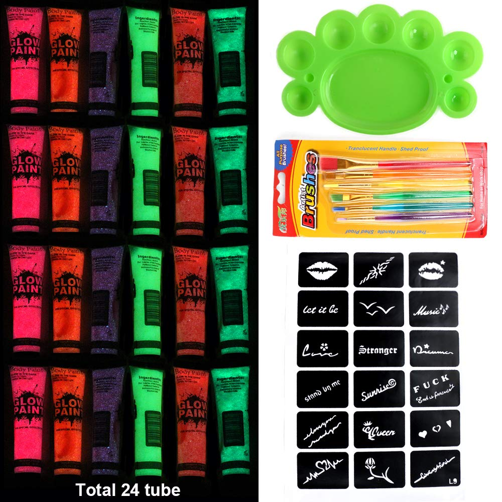 24 Bottles 6 color UV Body Paint Neon body Paint Neon Face Paint Blacklight Reactive Fluorescent Paint