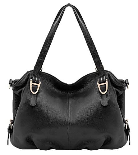 Amazon.com  Heshe Leather Shoulder Handbags Vintage Hobo Tote Top Handle  Bags Cross Body Satchel Purse for Womens and Ladies (Black)  Shoes 2ce663fea1229