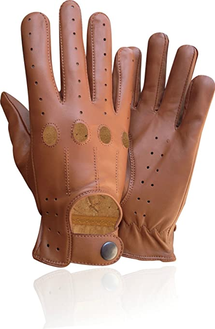 bd50d2cd97e30 Genuine Leather Men's Driving Unlined Knuckle Holes Gloves Tan 507 (Small)