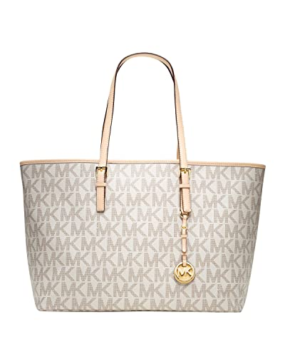 ed02184e4eb2 Michael Kors Jet Set Vanilla PVC Multifunction Logo Travel Tote Bag ...