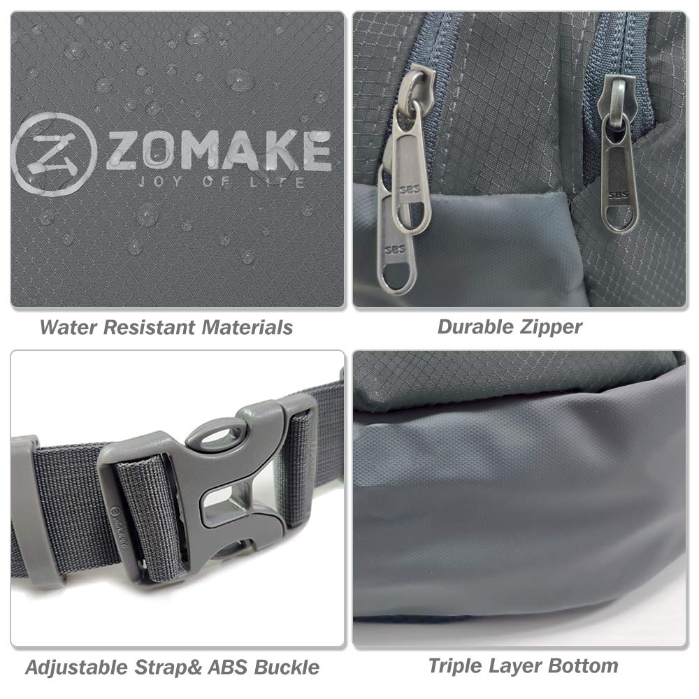 ZOMAKE Fanny Pack Water Resistant Waist Bag Hip Bum Bag for Men and Women Large Compartment with Adjustable Strap for Outdoors Workout Traveling Casual Running Hiking Cycling