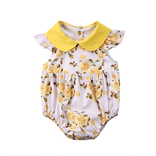 636e55ed0 Newborn Baby Girl Outfit Yellow Rose Floral Romper Princess Button Bodysuit  Clothes (Floral, 0