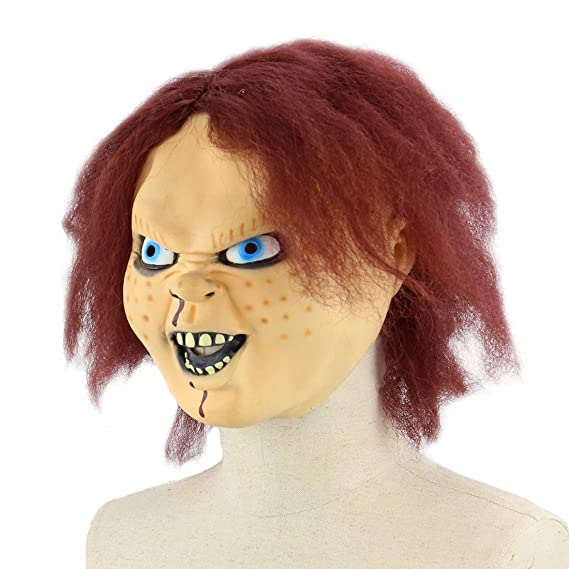 Amazon.com: Mo Fang Gong She Horrible Childs Play Complete Works Masks Costume Party Props(Bride of Chucky: Clothing