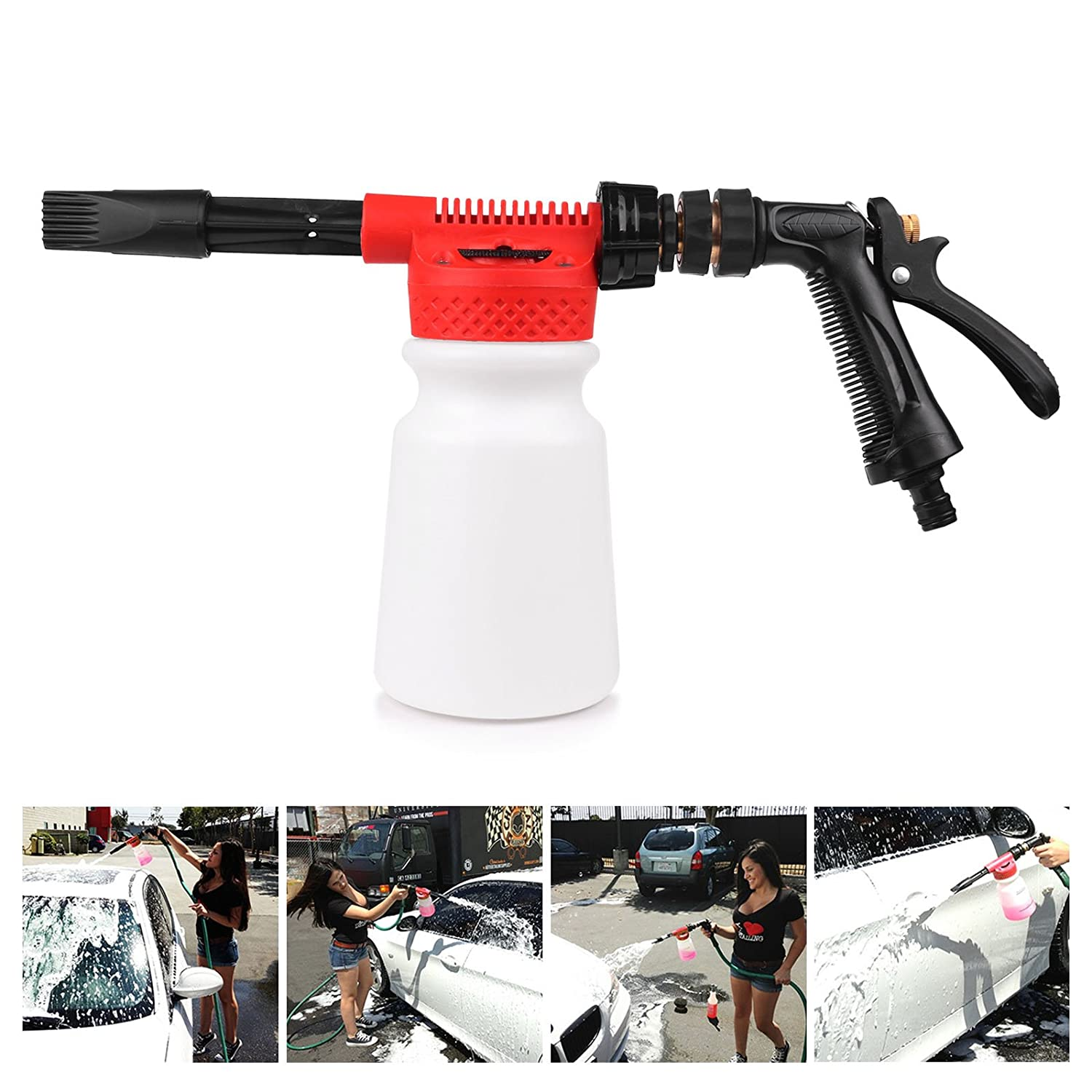 Amazon com car washing foamaster onever cannon foam lance gun multifunctional portable water soap shampoo sprayer 900ml for van motorcycle vehicle patio