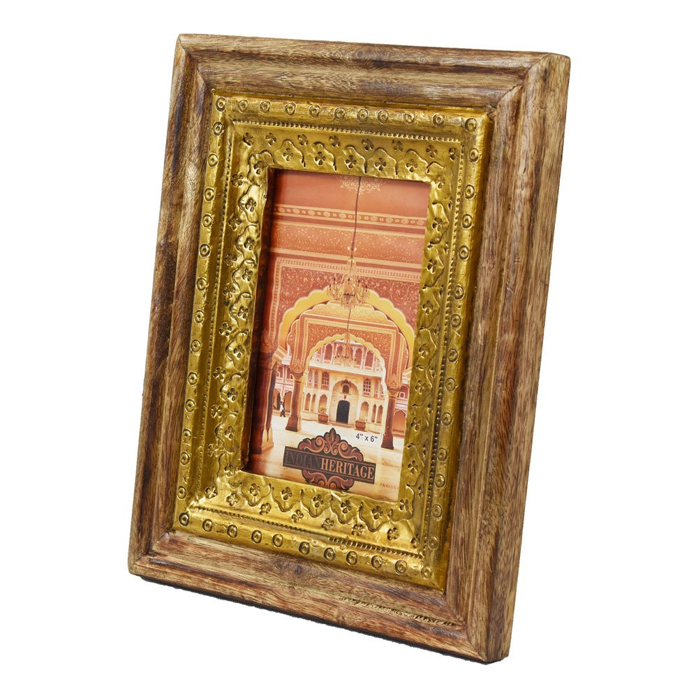 Indian Heritage Wooden Photo Frame Mango Wood Metal Cladding Design in Dark Wood Finish