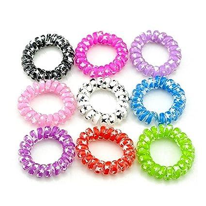 Vikenner 10 piezas coloridas espiral elástico pelo bandas banda ...