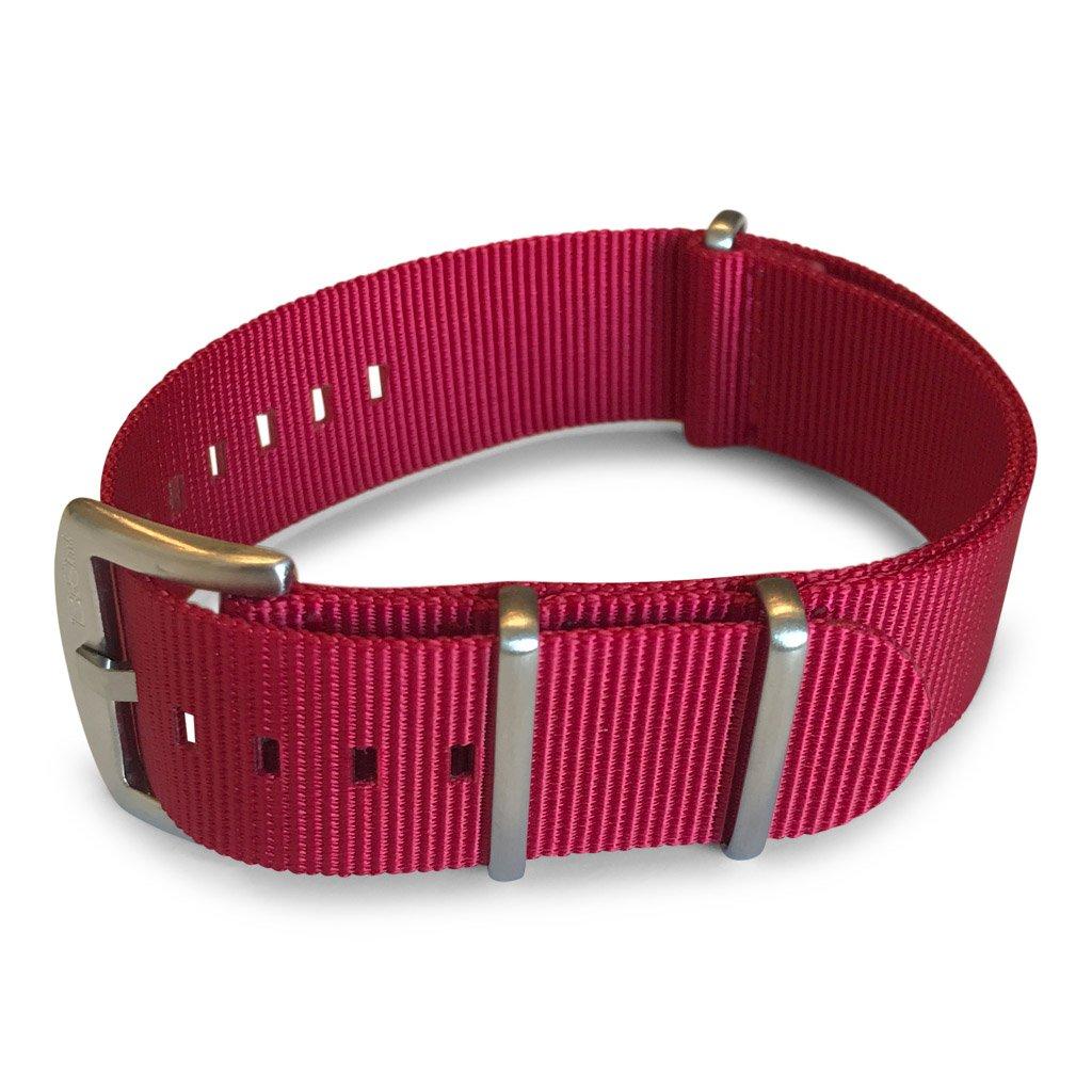 BluShark - The Original Premium Nylon Watch Strap - Multiple Sizes and Styles - 20mm Crimson Red