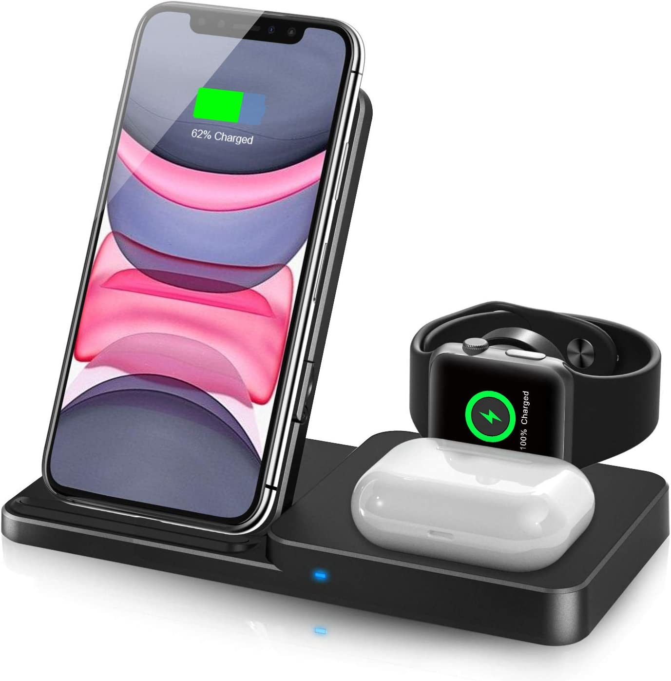 Wireless Charger, 3 in 1 Qi-Certified Fast Wireless Charging Station for AirPods/Apple Watch Series/ iPhone 12/11/11 pro/11 Pro Max/XS/XS Max/XR/8/8 Plus/SE,Adjust Wireless Charging Stand for Samsung