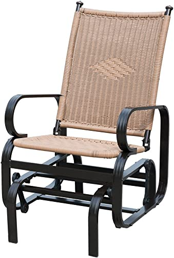 PatioPost Outdoor Patio Glider Chair Comfortable Porch Wicker Rocking Chair