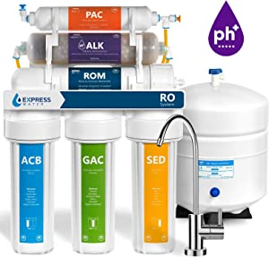 Express Water 10 Stage Alkaline Antioxidant Reverse Osmosis Home Drinking Water Filtration System MODERN faucet - ROALK5M